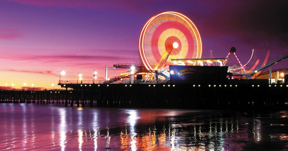 Photo - This undated image provided by Pacific Park Photo shows a time-exposure photograph of the Ferris wheel on the Santa Monica Pier in Santa Monica, Calif. A 10-day eBay auction began Tuesday April 15, 2008, for this nine-story-tall Ferris wheel at the Santa Monica Pier. The great wheel overlooking the ocean has provided some 3 million rides since it was installed at Pacific Park in 1996. (AP Photo/Pacific Park Photo) ** NO SALES ** ORG XMIT: LA115