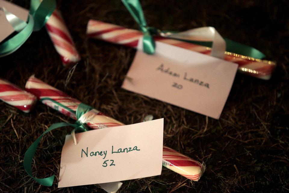 Photo - The names of Nancy Lanza and Adam Lanza are attached to candy at a memorial to the Newtown shooting victims in Newtown, Conn., Thursday, Dec. 20, 2012. Nancy Lanza's 20-year-old son, Adam Lanza, killed her at their home in Newtown, Conn., last week and then drove to Sandy Hook Elementary School, where he killed 20 children and six school employees before committing suicide. (AP Photo/Seth Wenig)