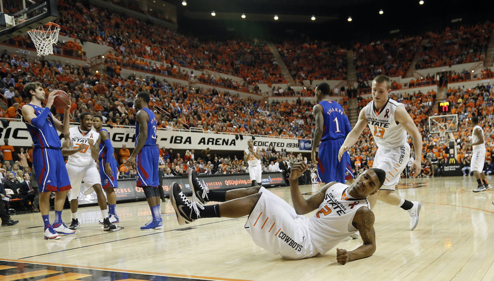 Photo - Oklahoma State 's Le'Bryan Nash (2) reacts after being fouled on a shot during the college basketball game between the Oklahoma State University Cowboys (OSU) and the University of Kanas Jayhawks (KU) at Gallagher-Iba Arena on Wednesday, Feb. 20, 2013, in Stillwater, Okla. Photo by Chris Landsberger, The Oklahoman