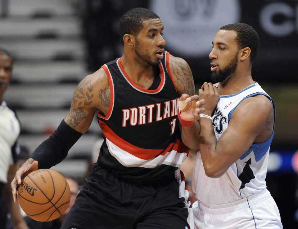 Minnesota Timberwolves' Derrick Williams guards Portland Trail Blazers' LaMarcus Aldridge during the first quart of an NBA basketball game Monday, Feb. 4, 2013,, in Minneapolis. (AP Photo/Hannah Foslien)