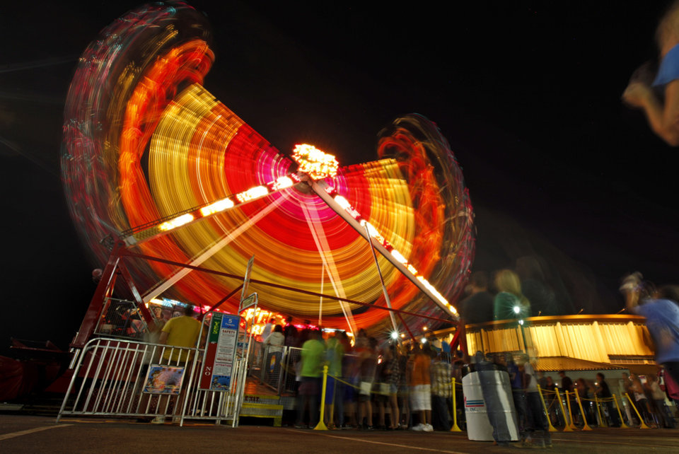 A line forms for a ride after sunset at the Oklahoma State Fair in Oklahoma City, Wednesday, September 19, 2012. Photo by Bryan Terry, The Oklahoman