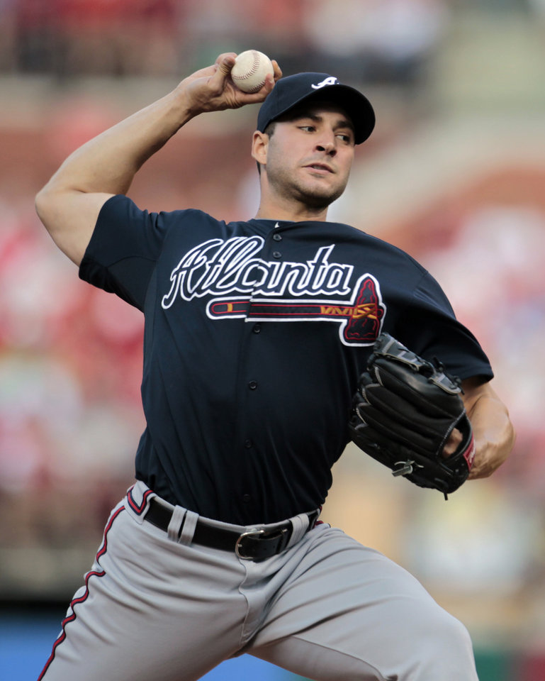 Atlanta Braves starting pitcher Brandon Beachy delivers during the first inning of a baseball game against the St. Louis Cardinals, Saturday, May 12, 2012, in St. Louis. (AP Photo/Jeff Roberson)