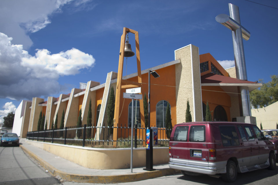 Photo -   A church allegedly donated by Heriberto Lazcano Lazcano, alleged leader of the Zetas, stands in the neighborhood of Tezontle in Pachuca, Mexico. Mexico's Navy says fingerprints confirm that cartel leader Lazcano, an army special forces deserter, was killed Sunday, Oct. 7, 2012 in a firefight with marines in the northern state of Coahuila on the border with the Texas. (AP Photo/Alexandre Meneghini)