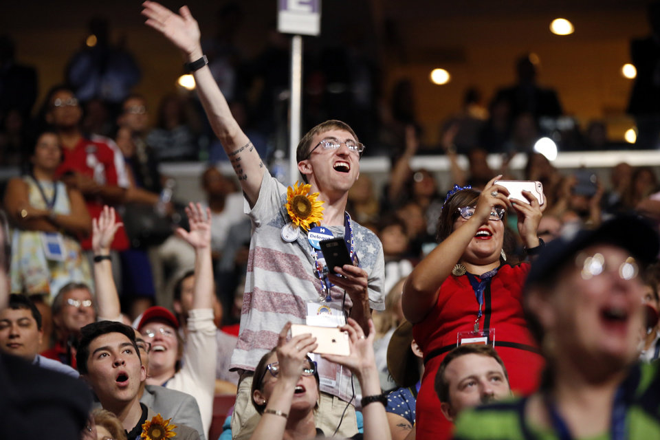 Photo - Delegates cheer during the third day session of the Democratic National Convention in Philadelphia, Wednesday, July 27, 2016. (AP Photo/Matt Rourke)