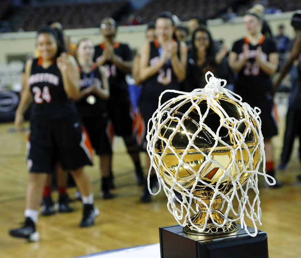 Photo - Preston Lady Pirates wait to receive their championship trophy after the Class 2A Girls State Championship game between Preston and Cordell at Jim Norick Arena at State Fair Park  on Saturday, Mar. 15, 2014.  Preston won,  45-41. Photo by Jim Beckel, The Oklahoman