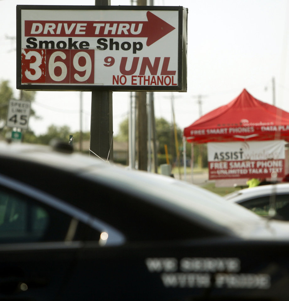 Photo - A gas station sign displays a price of $3.69 per gallon Tuesday in Oklahoma City .  Photos by K.T. King, The Oklahoman  KT King -  The Oklahoman