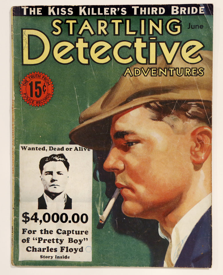 Photo - Pretty Boy Floyd cover story in Startling Detective, June 1933.   Dale Ingram collection  of historic movie posters  and sheet music that have ties to Oklahoma.  He is shown in his northwest Oklahoma City home on Monday, Dec. 19, 2016. [Photo by Jim Beckel, The Oklahoman]
