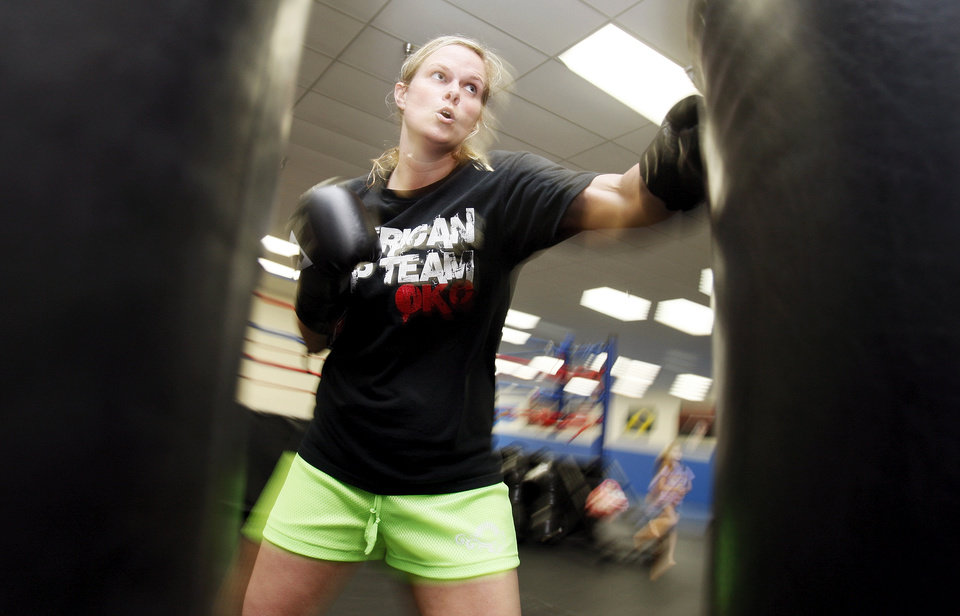 WOMAN / FEMALE: Boxer Kelly Trance trains at American Top Team  in Oklahoma City, Thursday, June 7, 2012. Trance has taken time from her career as a DJ to focus on being a professional boxer. Photo by Nate Billings, The Oklahoman