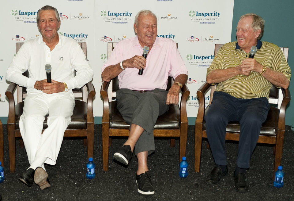 Photo -   Golfers Gary Player, left, Arnold Palmer, center, and Jack Nicklaus, right, share a laugh during a news conference before a Greats of Golf event Saturday, May 5, 2012, in The Woodlands, Texas. (AP Photo/Dave Einsel)
