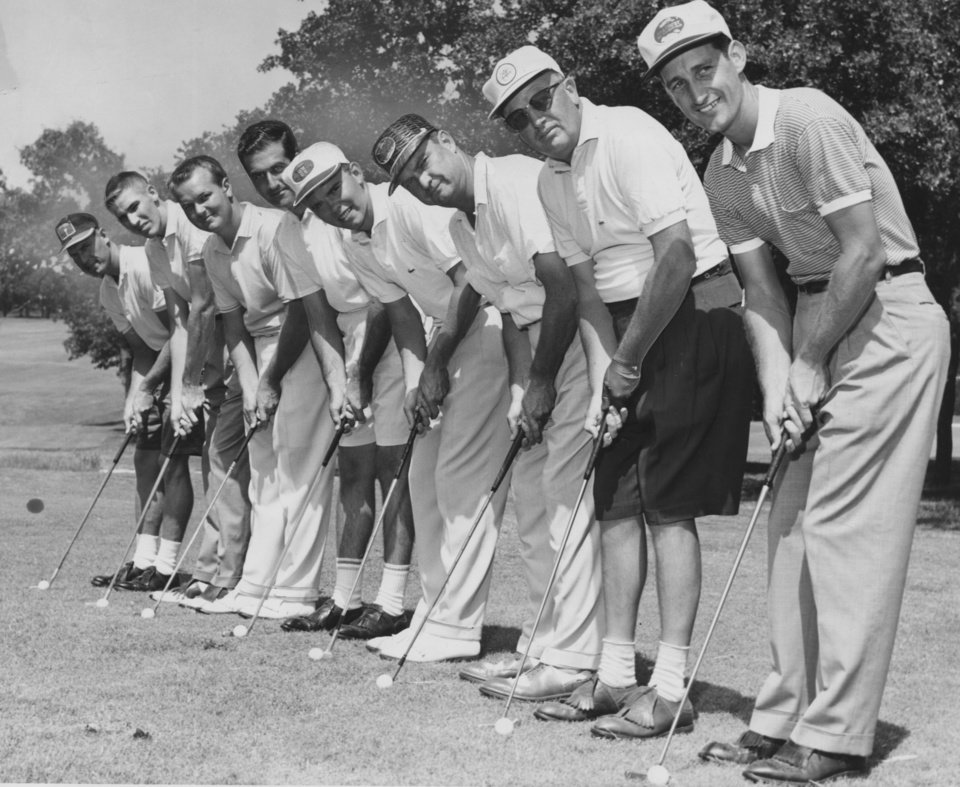 """Photo - GOLF / GOLFER: """"Two foursomes of Oklahoma City and Tulsa linksmen line up for the cameraman following play in Saturday's annual Oklahoma Cup matches in which the cityans grabbed a commanding lead. From the left are Stormy Williams, city; Ab Justice, city; Bill Daniels, Tulsa; Sig Harpman, city; Art Hall, Tulsa; Walter Emery, Tulsa; Morgan Jones, Tulsa; and Glen Fowler, city. The matches wind up Sunday at Twin Hills."""" (Photo taken Aug. 24, 1957) (Published 8/25/1957 in The Daily Oklahoman)"""