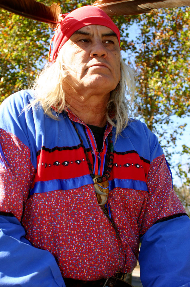 Photo - David Hill, from Sasakwa, at the Oklahoma Indians Survival Walk and Remembrance Ceremony at the Capitol Friday, Nov. 16, 2007. By Michael McNutt, The Oklahoman.