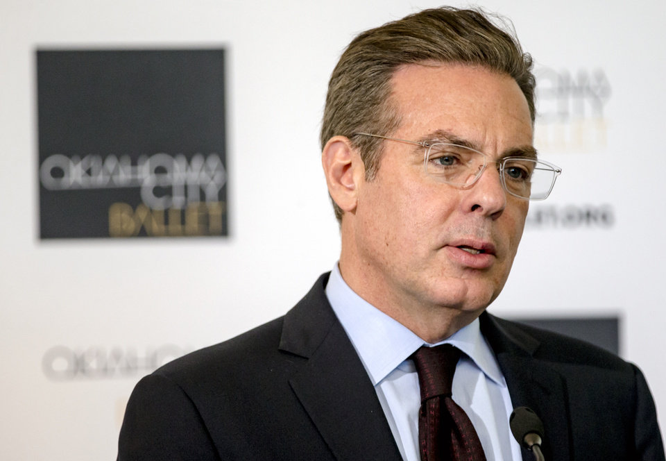 Photo -  Christian K. Keesee, president of the Kirkpatrick Family Fund, speaks during a news conference Monday to announce a $2 million gift to the Oklahoma City Ballet from the Kirkpatrick Philanthropies at the new Susan E. Brackett Dance Center in Oklahoma City. [Photo by Chris Landsberger, The Oklahoman]