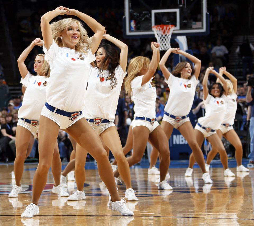 The Thunder Girls dance team performs during an NBA basketball game between the Oklahoma City Thunder and Minnesota Timberwolves at Chesapeake Energy Arena in Oklahoma City, Friday, Feb. 22, 2013. Oklahoma City won, 127-111. Photo by Nate Billings, The Oklahoman