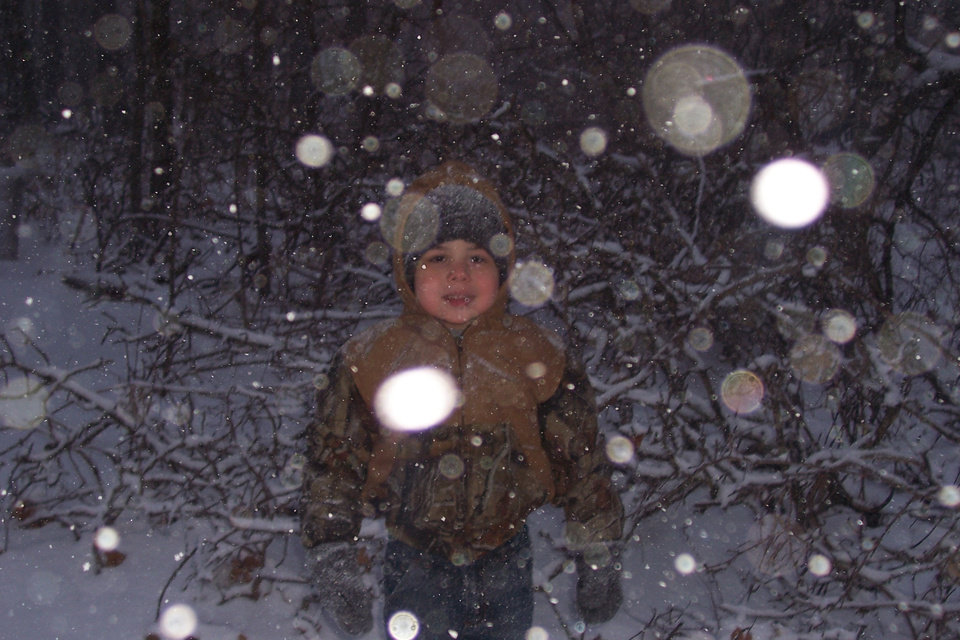 Garrett in the snow 11/30. Community Photo By: Mom Submitted By: Feathers, Harrah