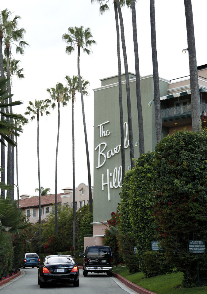 Photo -   In this April 25, 2012 photo, the entrance to the Beverly Hills Hotel is seen in Beverly Hills, Calif. The Beverly Hills Hotel is celebrating its 100th anniversary this year. (AP Photo/Matt Sayles)