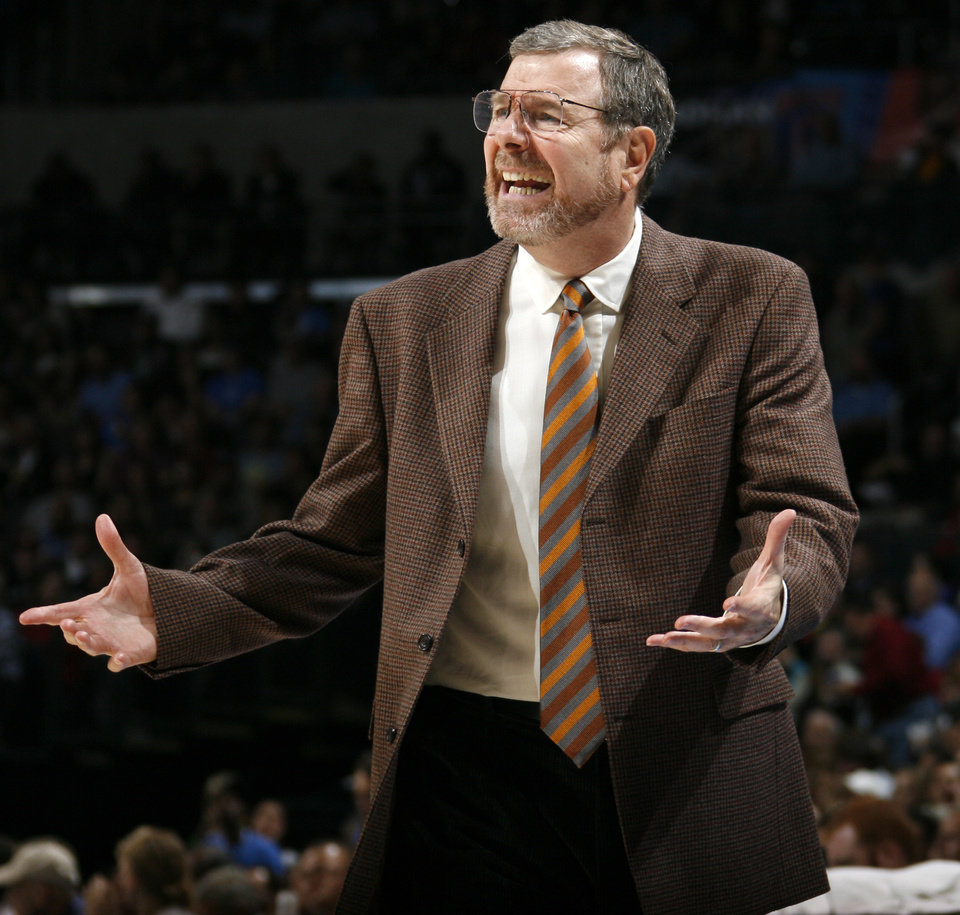 Oklahoma City head coach P.J. Carlesimo yells at an official in the second half during the NBA basketball game between the Oklahoma City Thunder and the Boston Celtics at the Ford Center in Oklahoma City, Wednesday, Nov. 5, 2008. Boston won, 96-83. BY NATE BILLINGS, THE OKLAHOMAN