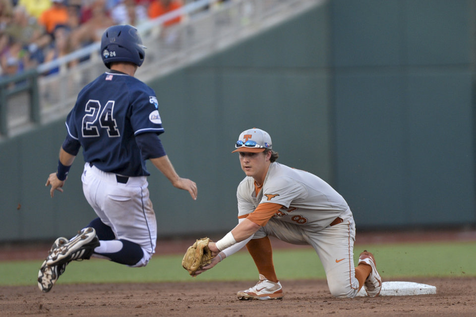 Photo - UC Irvine's Kris Paulino (24) is caught stealing by Texas second baseman Brooks Marlow, right, in the second inning of an NCAA baseball College World Series elimination game in Omaha, Neb., Wednesday, June 18, 2014 (AP Photo/Ted Kirk)
