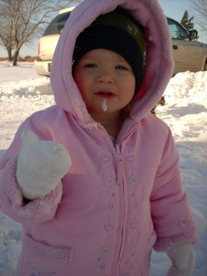 Paige Downs, 2 years old, Eating Snow<br/><b>Community Photo By:</b> Kathy Downs<br/><b>Submitted By:</b> Katharine, Guthrie