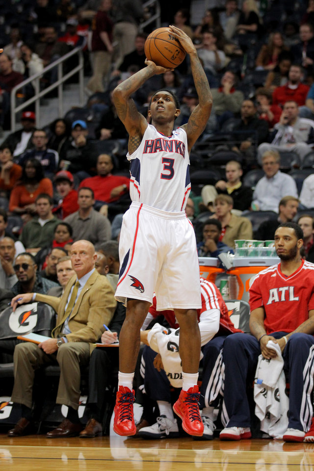 Atlanta Hawks shooting guard Louis Williams (3) shoots in the first half of an NBA basketball game against the Charlotte Bobcats, Thursday, Dec. 13, 2012, in Atlanta. (AP Photo/Todd Kirkland)