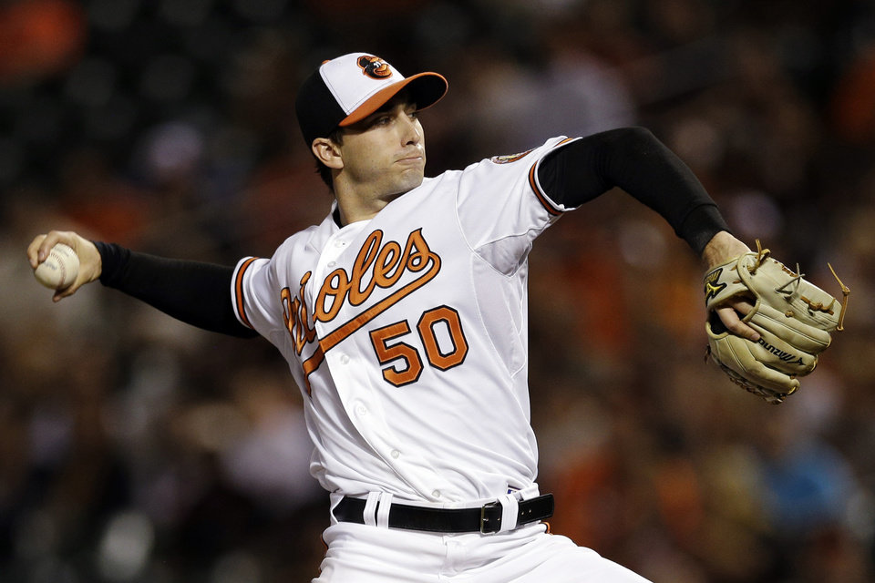 Photo -   Baltimore Orioles starting pitcher Miguel Gonzalez throws to the Tampa Bay Rays in the second inning of a baseball game in Baltimore, Wednesday, Sept. 12, 2012. (AP Photo/Patrick Semansky)