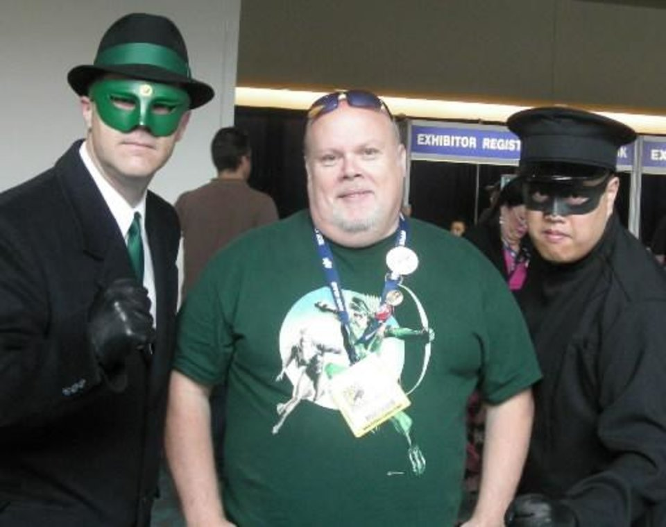 Author Mel Odom, center, with the Green Hornet and Kato at Comic-Con International in San Diego. PHOTO