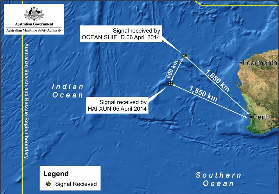Photo - This image provided by the Joint Agency Coordination Centre on Monday, April 7, 2014, shows a map indicating the locations of search vessels looking for signs of the missing Malaysia Airlines Flight 370 in the southern Indian Ocean. An Australian official overseeing the search for the missing Malaysia Airlines plane said underwater sounds picked up by equipment on an Australian navy ship are consistent with transmissions from black box recorders on a plane. (AP Photo/Joint Agency Coordination Centre) EDITORIAL USE ONLY