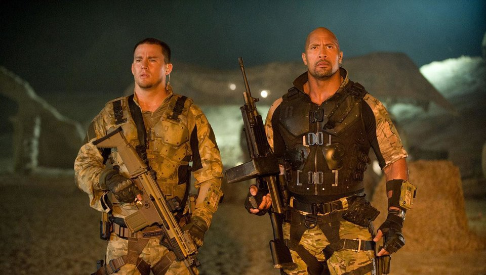 From left, Channing Tatum returns as Duke and Dwayne Johnson plays Roadblock in the sequel