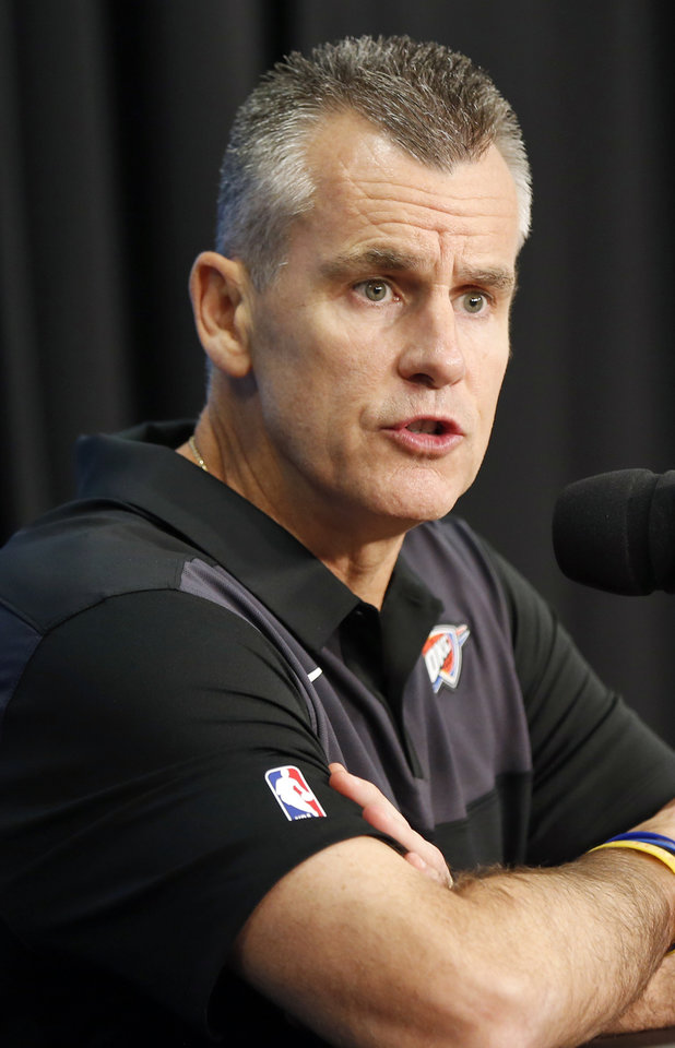 Photo - Coach Billy Donovan speaks during a press conference at media day for the Oklahoma City Thunder at Chesapeake Energy Arena in Oklahoma City, Monday, Sept. 24, 2018. Photo by Nate Billings, The Oklahoman