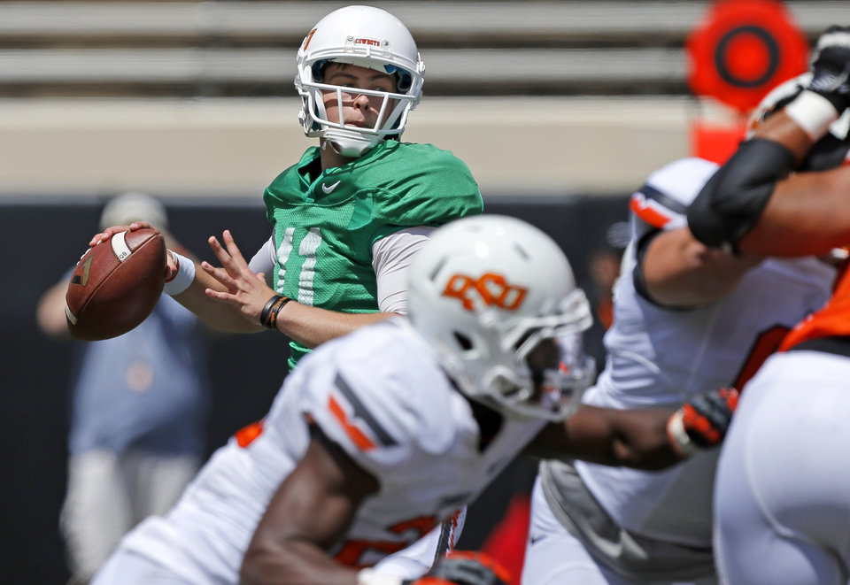 Oklahoma State\'s Wes Lunt drops back to pass during OSU\'s spring football game at Boone Pickens Stadium in Stillwater, Okla., Sat., April 20, 2013. Photo by Bryan Terry, The Oklahoman