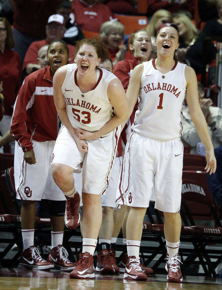 Oklahoma's Joanna McFarland (53) and Nicole Kornet (1) celebrate during the women's Bedlam basketball game between Oklahoma State University and Oklahoma at the Lloyd Noble Center in Norman, Okla., Sunday, Feb. 10, 2013.Photo by Sarah Phipps, The Oklahoman