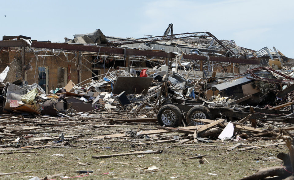Photo - Plaza Towers Elementary is not recognizable following  Monday's tornado on Wednesday, May 22, 2013 in Moore, Okla. Photo by Steve Sisney, The Oklahoman