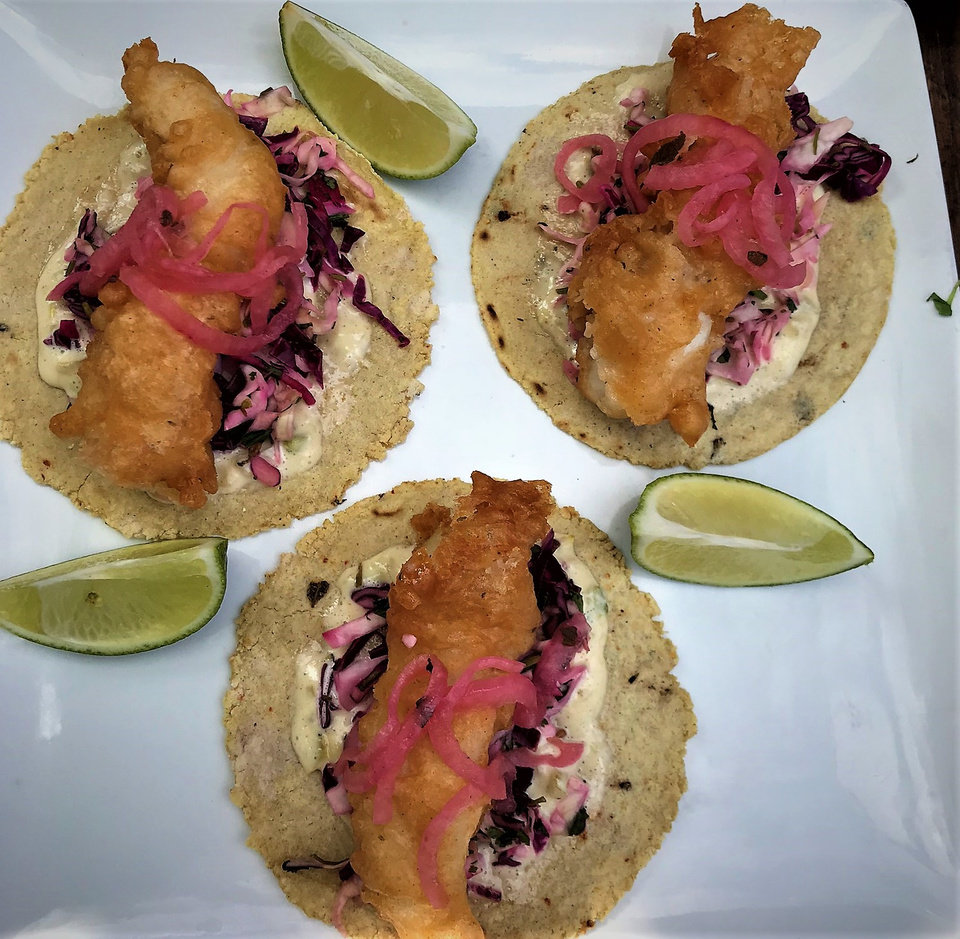 Photo -  Batter-fried fish tacos for the new concept Oso, which opens in early October. [Photo by Dave Cathey, The Oklahoman]
