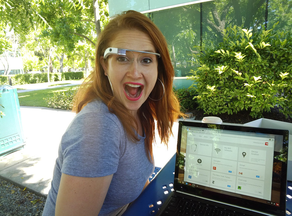 Photo - Google employee Svetlana Saitsky gets excited about Google Glass when she shows new Glass Explorers how to work the device. PHOTO BY LILLIE-BETH BRINKMAN, THE OKLAHOMAN.