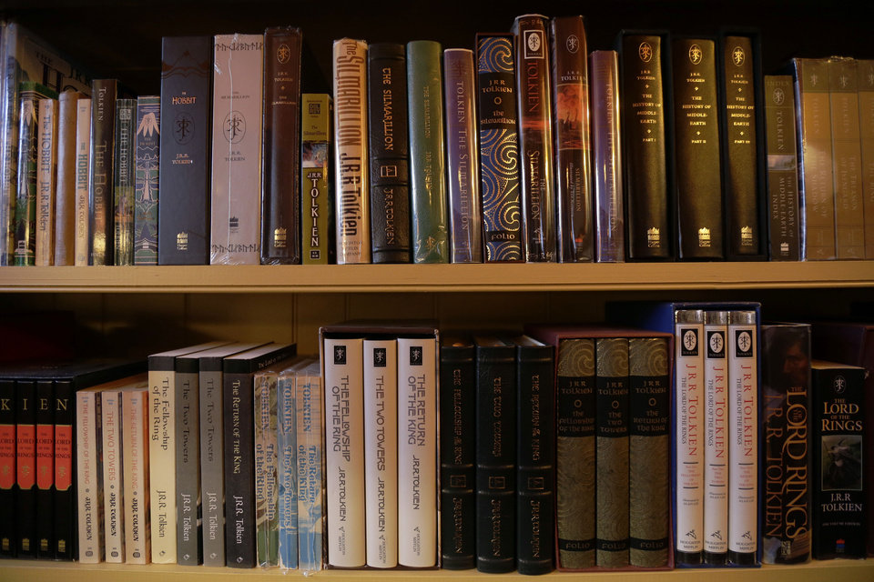 "Shown is a collection of J.R.R. Tolkien books at the ""Hobbit House"" Tuesday, Dec. 11, 2012, in Chester County, near Philadelphia. Architect Peter Archer has designed a ""Hobbit House"" containing a world-class collection of J.R.R. Tolkien manuscripts and memorabilia. AP photo"