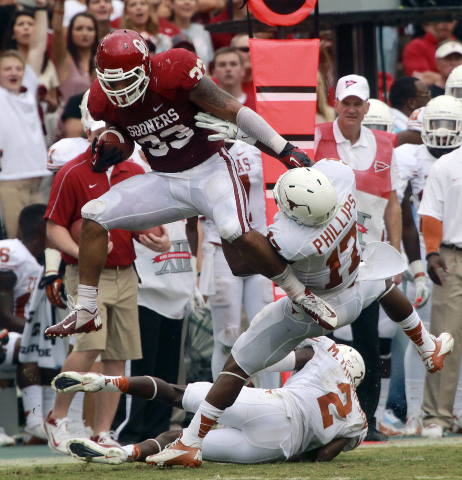 Photo -   Oklahoma fullback Trey Millard (33) breaks a tackle against Texas cornerback Adrian Phillips (17) and defensive back Mykkele Thompson (2) during the first half of an NCAA college football game at the Cotton Bowl Saturday, Oct. 13, 2012, in Dallas. (AP Photo/Michael Mulvey)