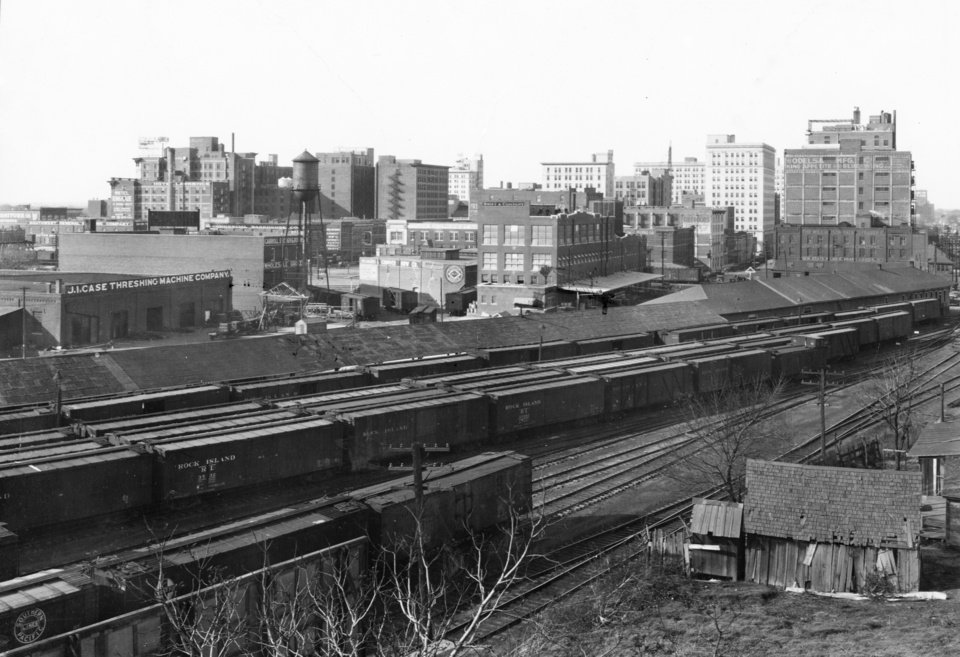 OKLAHOMA CITY / SKYLINE / OKLAHOMA:  Oklahoma City about 1927.  Rock Island freight depot shown - no tall buildings in skyline (looking west).  Photo undated and unpublished.