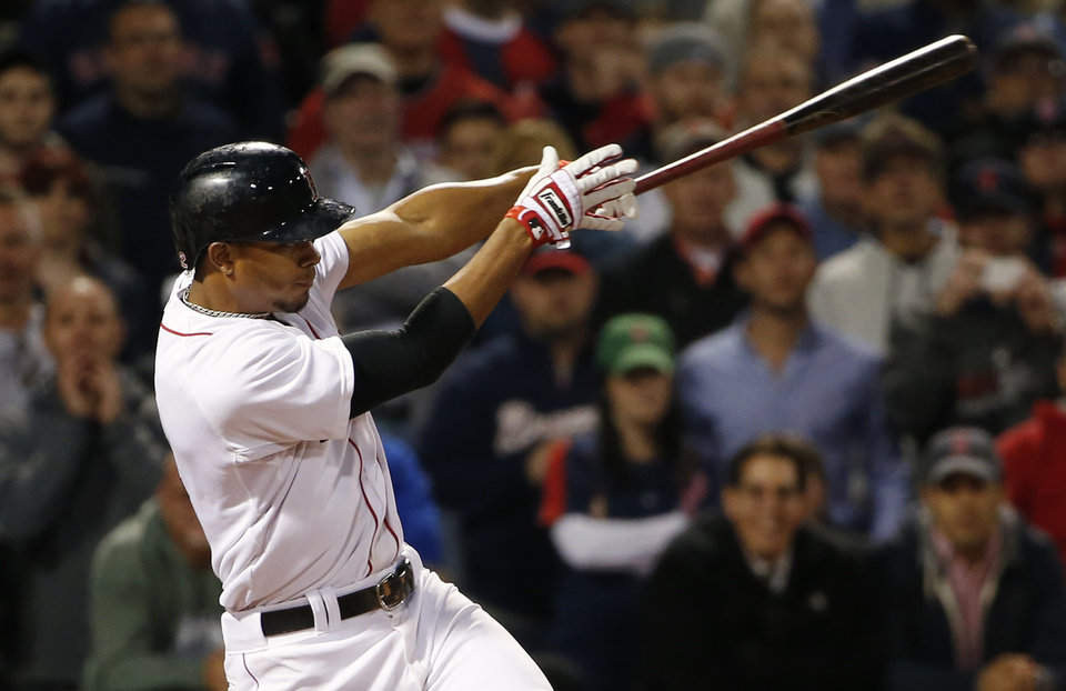 Photo - Boston Red Sox's Xander Bogaerts follows through on his game-winning RBI single against the Atlanta Braves during the ninth inning of their 4-3 win in a baseball game at Fenway Park in Boston, Thursday, May 29, 2014. (AP Photo/Winslow Townson)