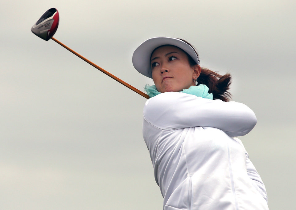 Photo - CORRECTS SPELLING TO MICHELLE, INSTEAD OF MICHELE - Michelle Wie tees off from the third hole during a pro-am for the Shoprite Classic golf tournament in Galloway, N.J., , Thursday, May 29, 2013. (AP Photo/The Press of Atlantic City, Michael Ein) MANDATORY CREDIT
