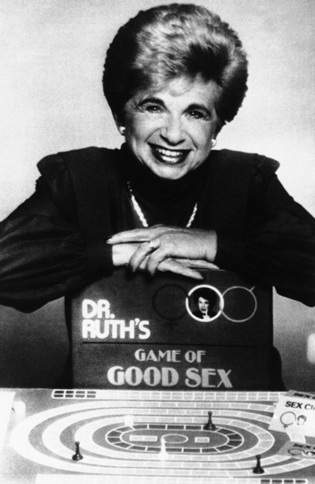 Photo -   FILE - In this Aug. 16, 1985 file photo, Dr. Ruth Westheimer poses with her new board game