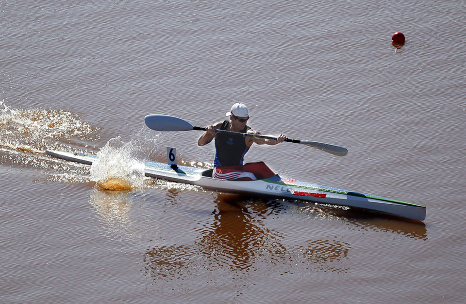 Carlos Garcia competes in the Men's single kayak 1000m Final A during the USA Canoe/Kayak World Cup Team Trials on the Oklahoma River,  Saturday, April 21, 2012. Photo by Sarah Phipps, The Oklahoman.