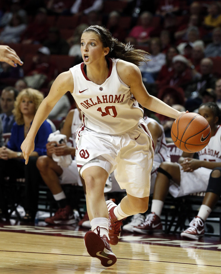 Oklahoma's Morgan Hook (10) looks to pass during the second half as the University of Oklahoma Sooners (OU) play the Riverside Highlanders in NCAA, women's college basketball at The Lloyd Noble Center on Thursday, Dec. 20, 2012  in Norman, Okla. Photo by Steve Sisney, The Oklahoman