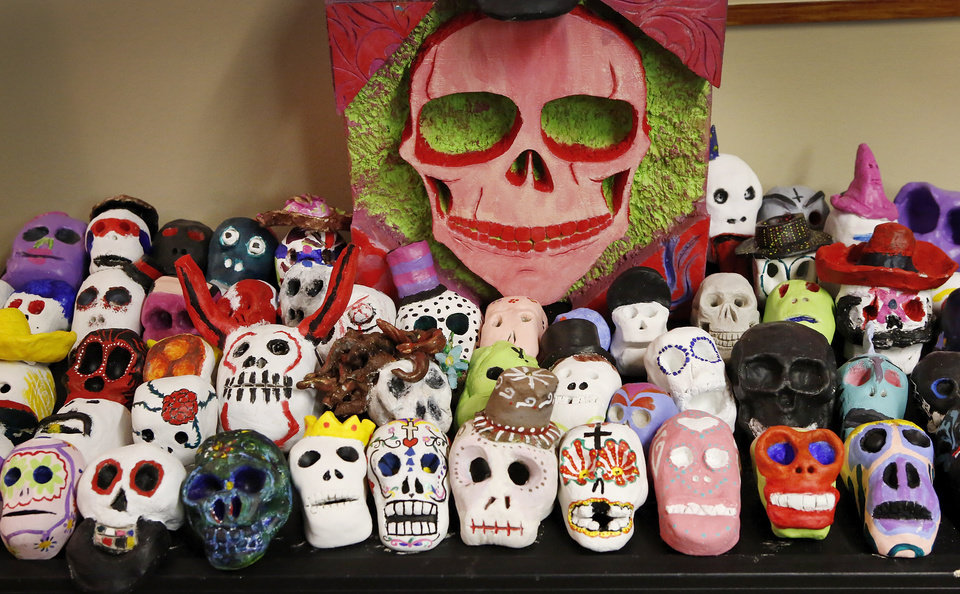For the fourth year, the Oklahoma City Public School District is partnering with the Gold Dome to display student artwork celebration the Mexican tradition of observing Dia de los Muertos at the Gold Dome at NW 23 and Classen. Students have creatively interpreted the message of the celebration through drawings, painting sculptures and other three dimensional artworks to the delight of the viewer. Every year the exhibit evolves and new ideas surface. Some schools work together in groups while others work independently. Regardless, visitors can expect to see colorful and lively artworks at both exhibit sites. Photo taken Tuesday, Oct. 30, 2012. Photo by Jim Beckel, The Oklahoman