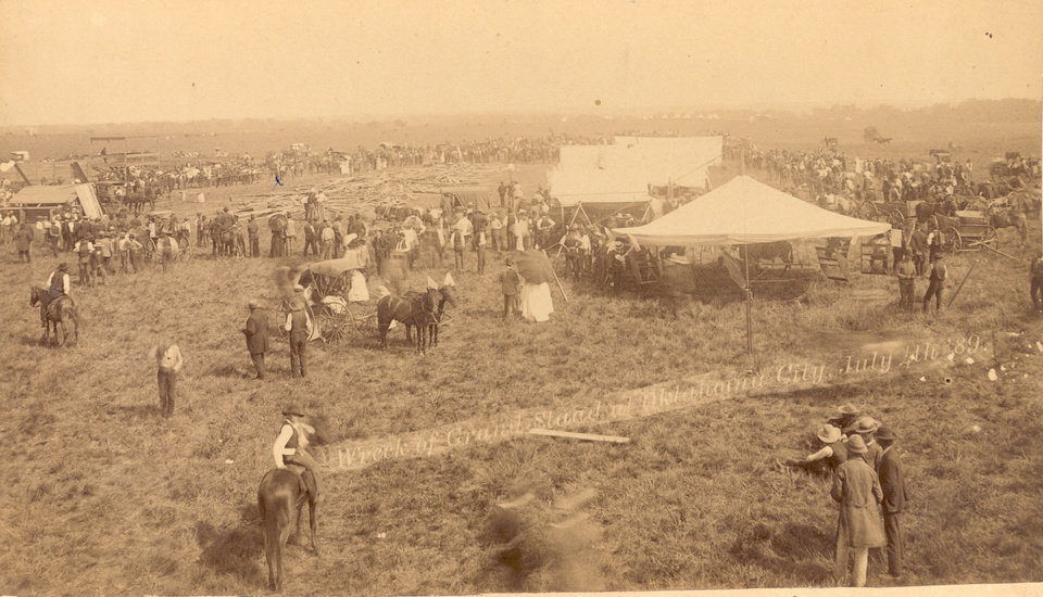 Photo - The deadly collapse of the grandstands used for the July 4, 1889 celebration in Oklahoma City, as shown in this photo, made national headlines and further hampered the town's efforts to become the state's biggest city.  Courtesy of the Oklahoma Historical Society