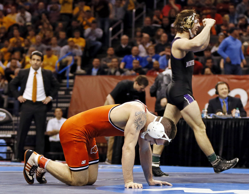 Photo - OSU's Joshua Kindig reacts after losing the 149-pound championship to Northwestern's Jason Tsirtsis in the 2014 NCAA Div. I Wrestling Championships at Chesapeake Energy Arena in Oklahoma City, Saturday, March 22, 2014. Photo by Nate Billings, The Oklahoman