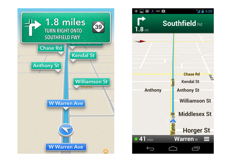 These screenshots taken Monday, Oct. 1, 2012 show Apple�s maps app on an iPhone, left, and Google�s on an Android device during a drive in Dearborn, Mich. Both have voices guiding motorists to upcoming turns, in this case onto Southfield Road in about two miles. An AP review finds the Google app, on the right, having more features, though Apple�s app does a good job for the most part getting people to their destination. (AP Photo)