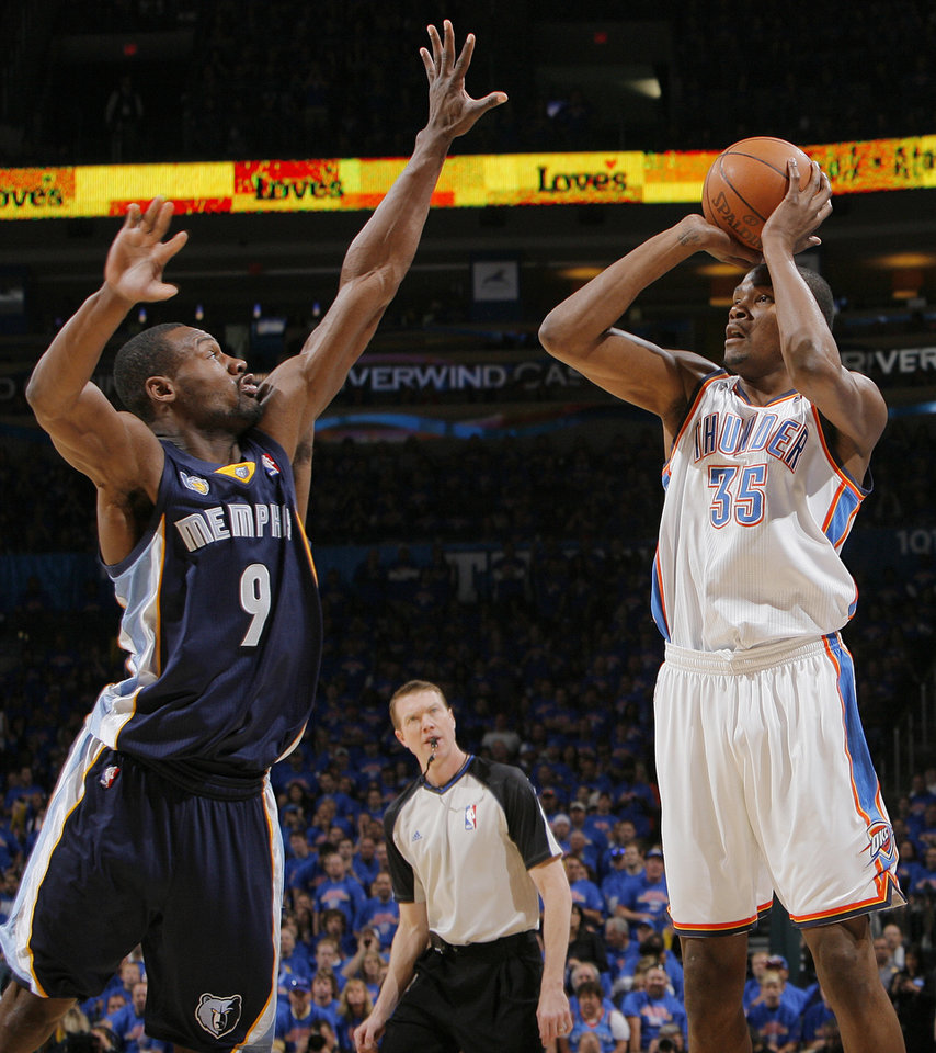 Oklahoma City's Kevin Durant (35) shoots over Tony Allen (9) of Memphis in the first half during game 7 of the NBA basketball Western Conference semifinals between the Memphis Grizzlies and the Oklahoma City Thunder at the OKC Arena in Oklahoma City, Sunday, May 15, 2011. Photo by Nate Billings, The Oklahoman