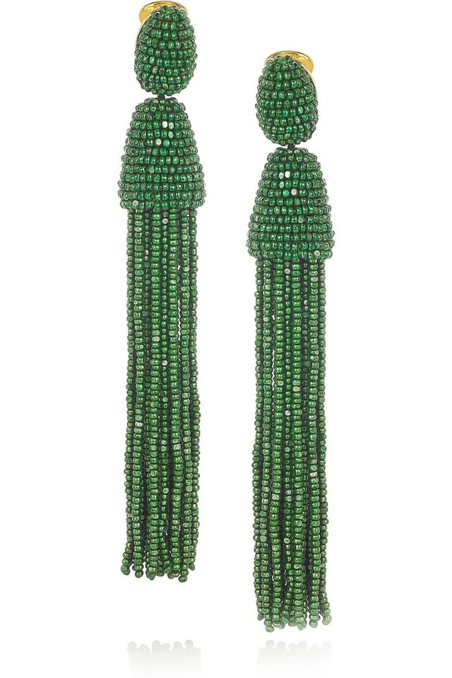 Photo - After color authority Pantone named emerald the official color of 2013, the green tone began popping up on runways and in stores everywhere. Here, Oscar de la Renta beaded tassle clip earrings, $395, Net-a-porter.com. (Courtesy net-a-porter.com via Los Angeles Times/MCT)