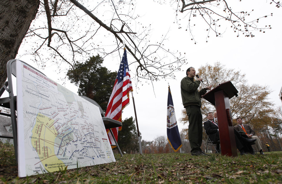 Bobby Krick, historian for the Richmond National Battlefiled, speaks during a news conference announcing the purchase of 285 acres of land at the Gaines Mill Civil War battlefield siteMonday, Nov. 19, 2012 in Mechanicsville, VA. The map to the left details some of the acreage purchased. Gaines\' Mill is where Gen. Robert E. Lee had his first major victory as commander of the Army of Northern Virginia. (AP Photo/Steve Helber)