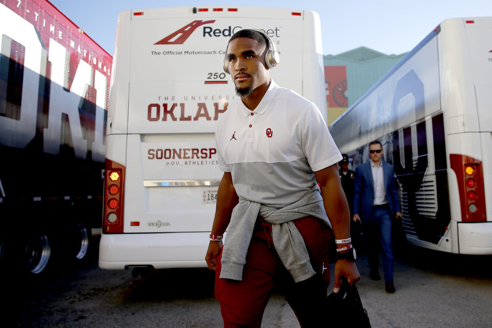 Photo - Oklahoma's Jalen Hurts arrives before the Red River Showdown college football game between the University of Oklahoma Sooners (OU) and the Texas Longhorns (UT) at Cotton Bowl Stadium in Dallas, Saturday, Oct. 12, 2019. [Bryan Terry/The Oklahoman]