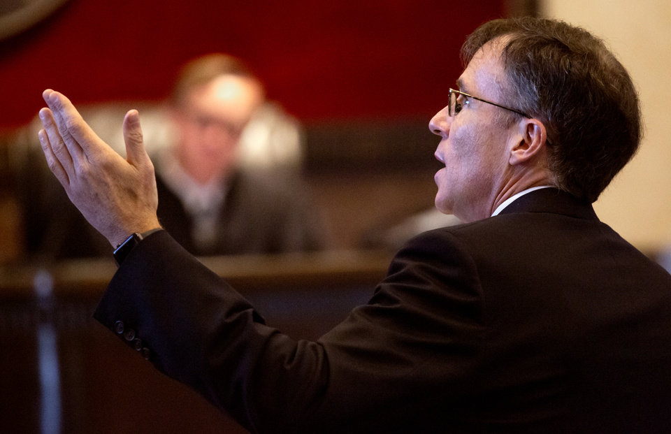 Photo - Defense attorney Steven Brody speaks to the court during the hearing to settle the Journal Entry of Judgment for opioid trial at the Cleveland County Courthouse in Norman, Okla. on Tuesday, Oct. 15, 2019. Judge Balkman ruled last Aug. in favor of the State of Oklahoma, for Johnson and Johnson pay $572 million to a plan to abate the opioid crisis.  [Chris Landsberger/The Oklahoman]